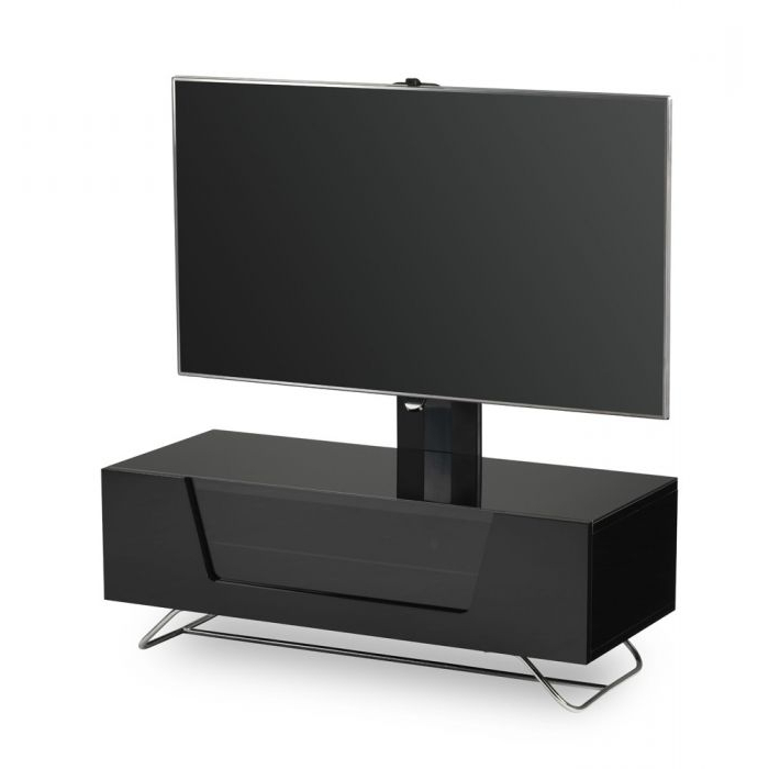 """Chromium 2 Cantilever Tv Stand In Black For 50"""" Tvs Within Milan Glass Tv Stands (View 1 of 20)"""