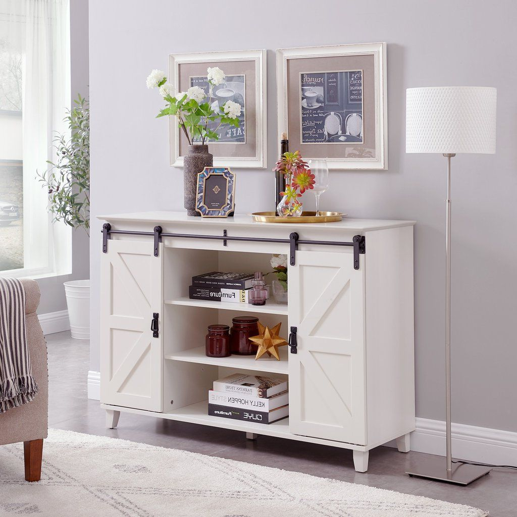 Circlelink Sliding Barn Door Console Tv Stand, Ivory With Regard To Compton Ivory Corner Tv Stands (View 14 of 20)