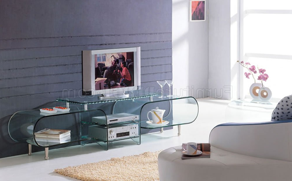 Clear Glass Modern Tv Stand W/storage Shelves Intended For High Glass Modern Entertainment Tv Stands For Living Room Bedroom (View 16 of 20)
