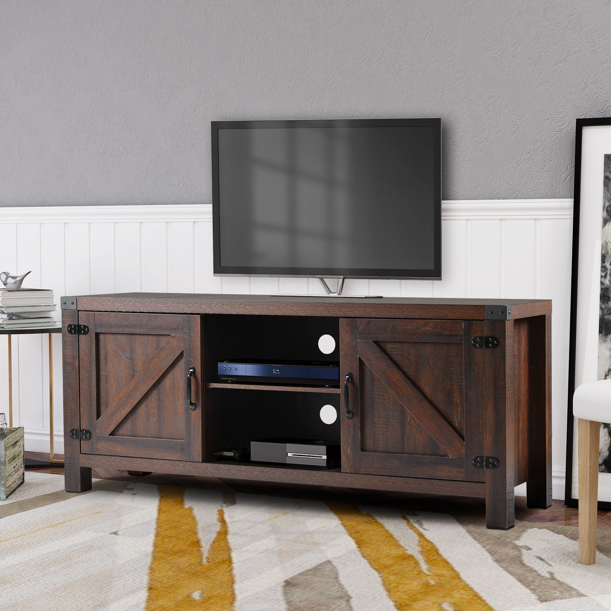 """Clearance! Fireplace Farmhouse Tv Stands For Tvs Up To 60 With Kasen Tv Stands For Tvs Up To 60"""" (View 2 of 20)"""