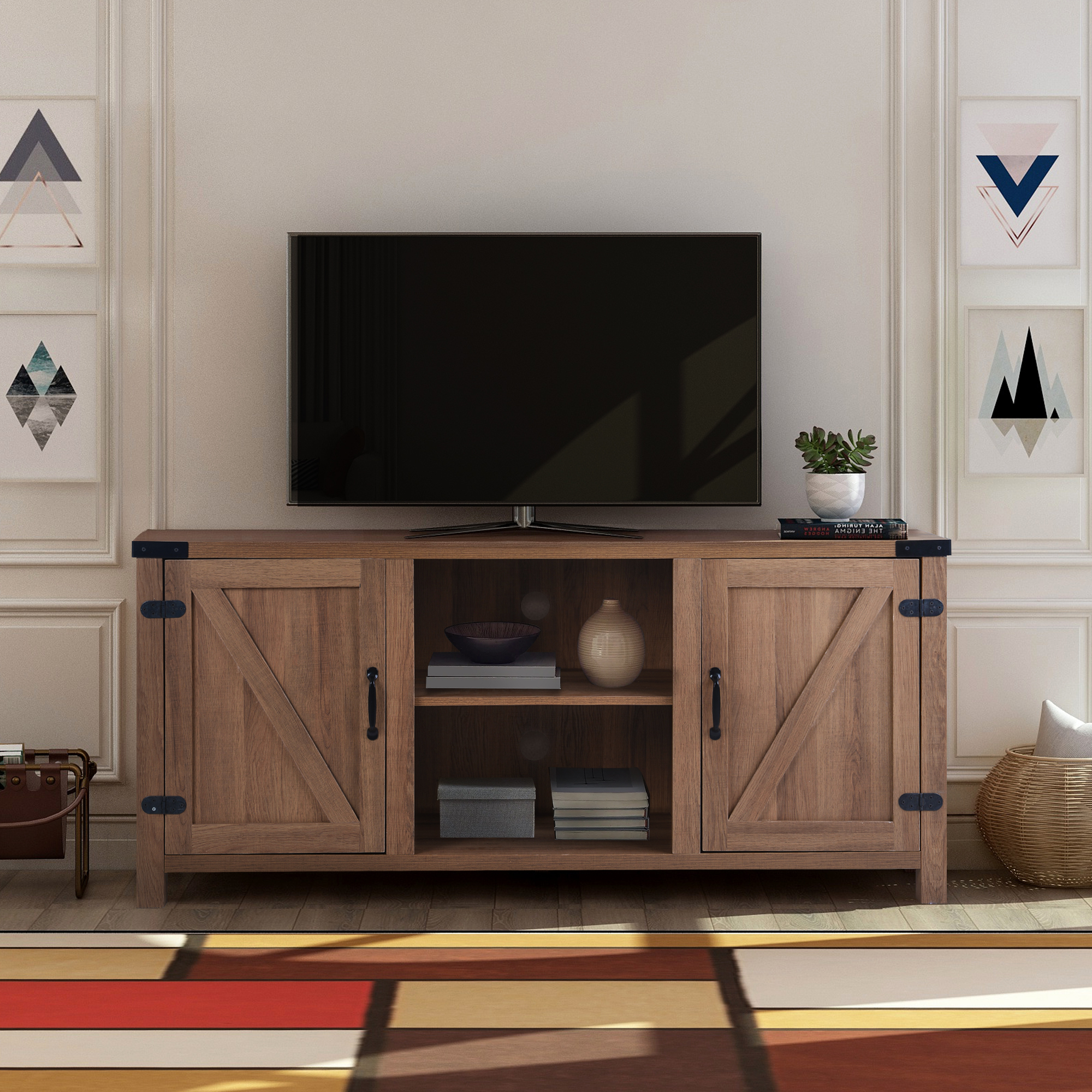 """Clearance! Modern Tv Stand Cabinet, Farmhouse Tv Stand For Throughout Neilsen Tv Stands For Tvs Up To 65"""" (View 1 of 20)"""