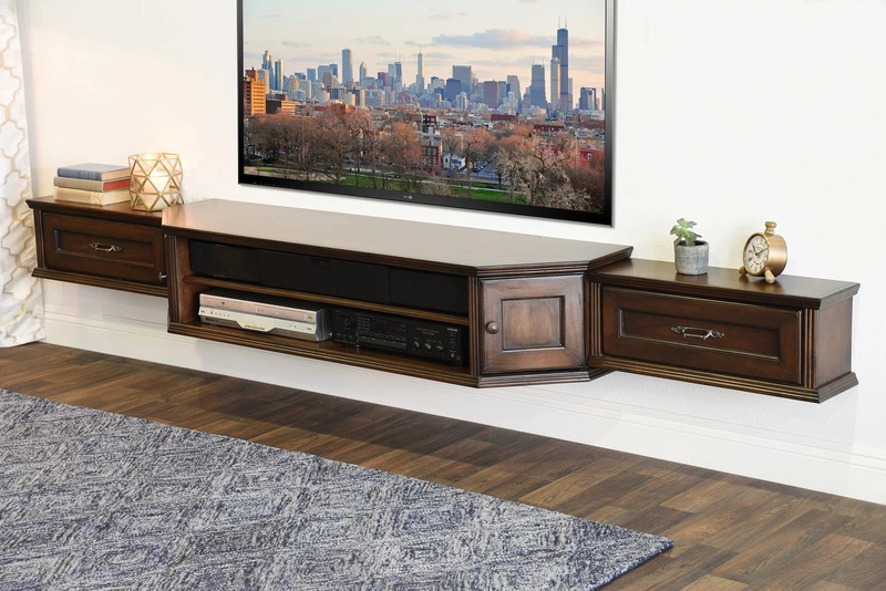 Coastal Transitional Floating Entertainment Tv Media Stand For Whalen Shelf Tv Stands With Floater Mount In Weathered Dark Pine Finish (View 11 of 20)