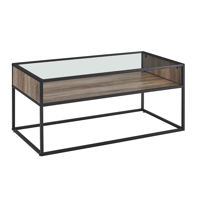Coffee Table With Shelf, Coffee Table With Shelves | Cymax Regarding Emmett Sonoma Tv Stands With Coffee Table With Metal Frame (View 2 of 20)