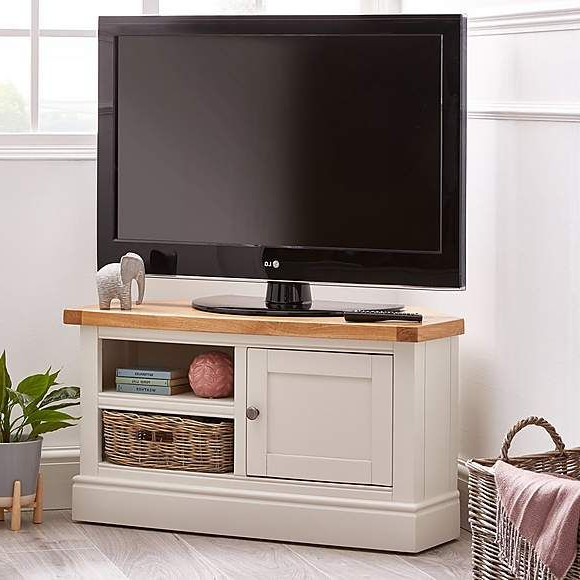 Compton Ivory Corner Tv Stand With Baskets In 2020 Inside Compton Ivory Large Tv Stands (View 1 of 20)