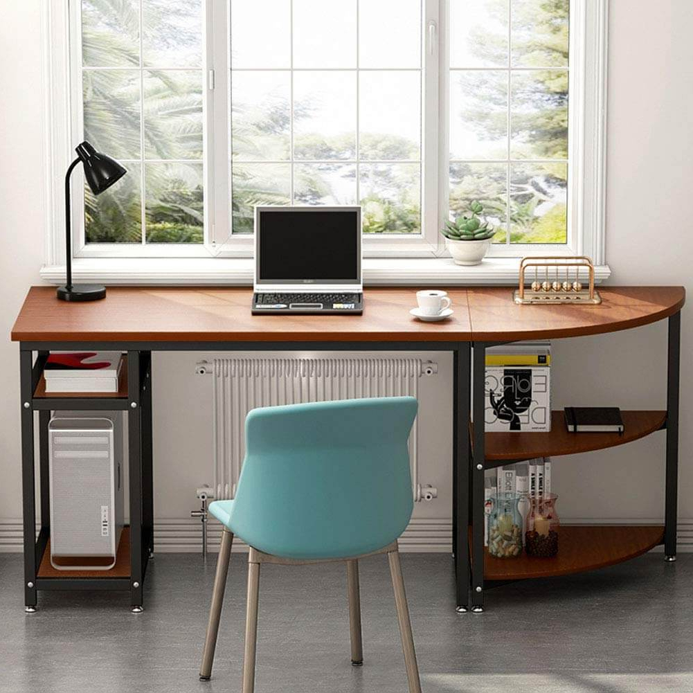 """Computer Desk With Storage Shelves, Little Tree 47"""" Gaming Throughout Space Saving Gaming Storage Tv Stands (View 17 of 20)"""