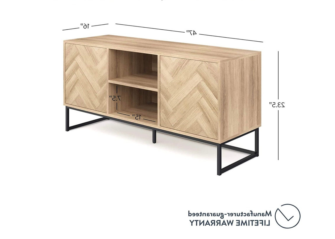 Console Cabinet Or Tv Stand With Doors For Hidden Storage For Media Console Cabinet Tv Stands With Hidden Storage Herringbone Pattern Wood Metal (View 7 of 20)