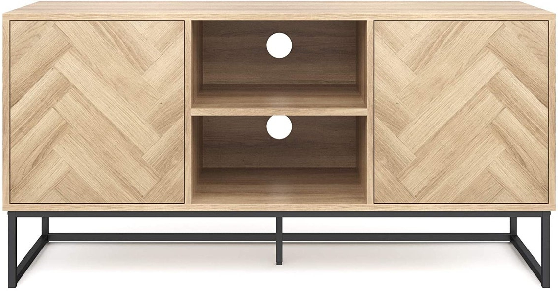 Console Cabinet Or Tv Stand With Doors For Hidden Storage Pertaining To Media Console Cabinet Tv Stands With Hidden Storage Herringbone Pattern Wood Metal (View 8 of 20)