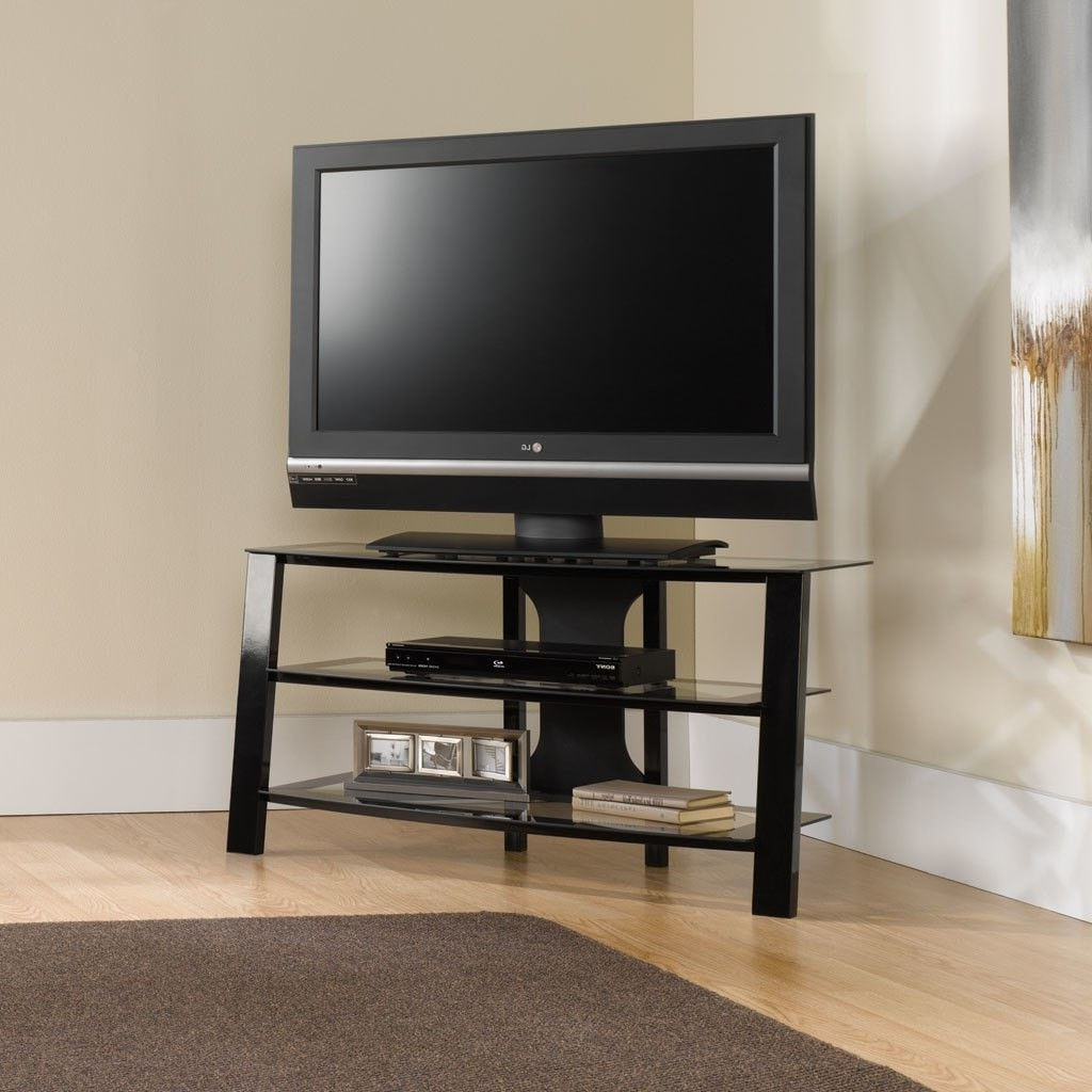 Contemporary 40 Inch Black Metal Tv Stand With Clear Glass Regarding Contemporary Black Tv Stands Corner Glass Shelf (View 3 of 20)