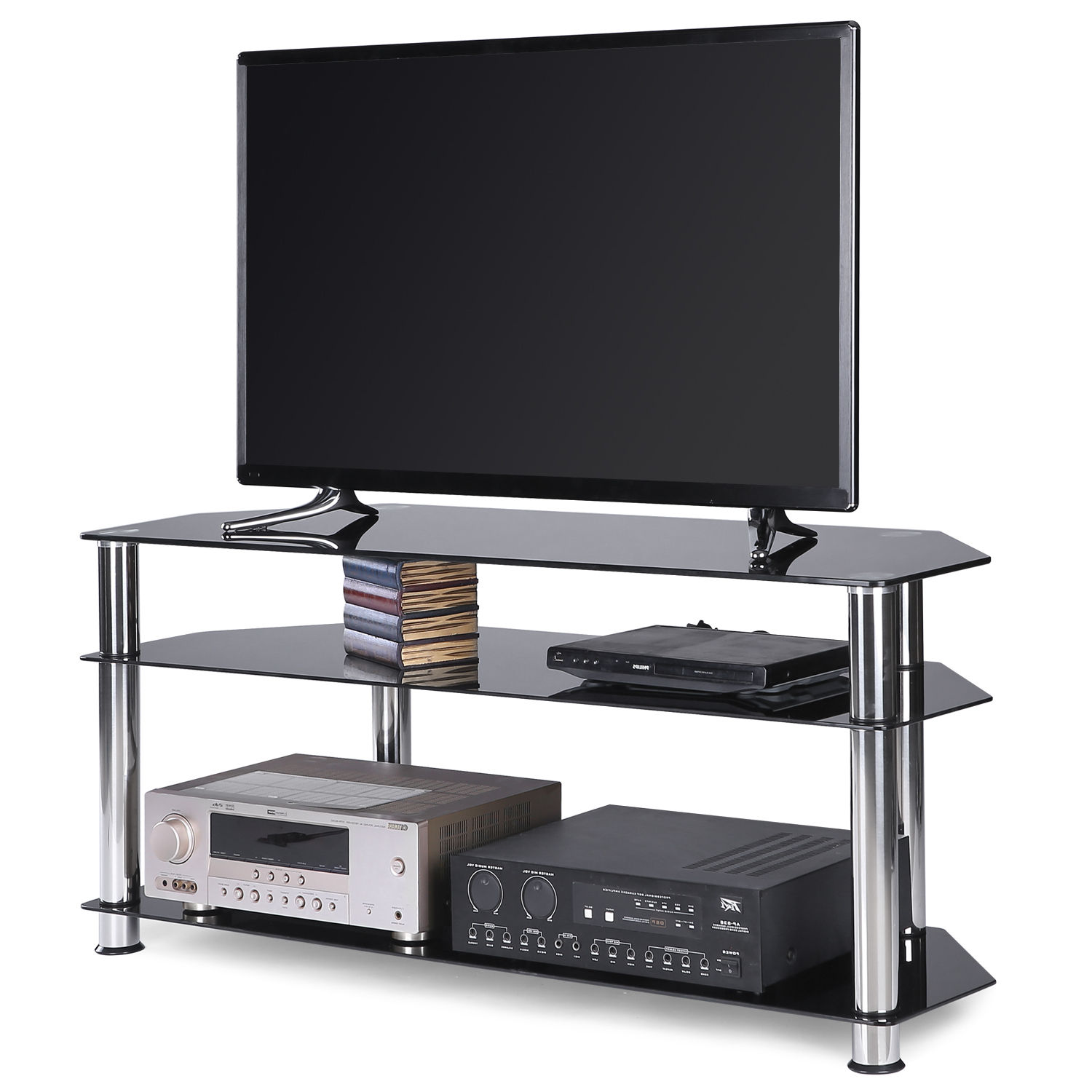 """Contemporary Black Corner Glass Tv Stand For Tvs Up To 55 Within Lansing Tv Stands For Tvs Up To 50"""" (View 13 of 20)"""