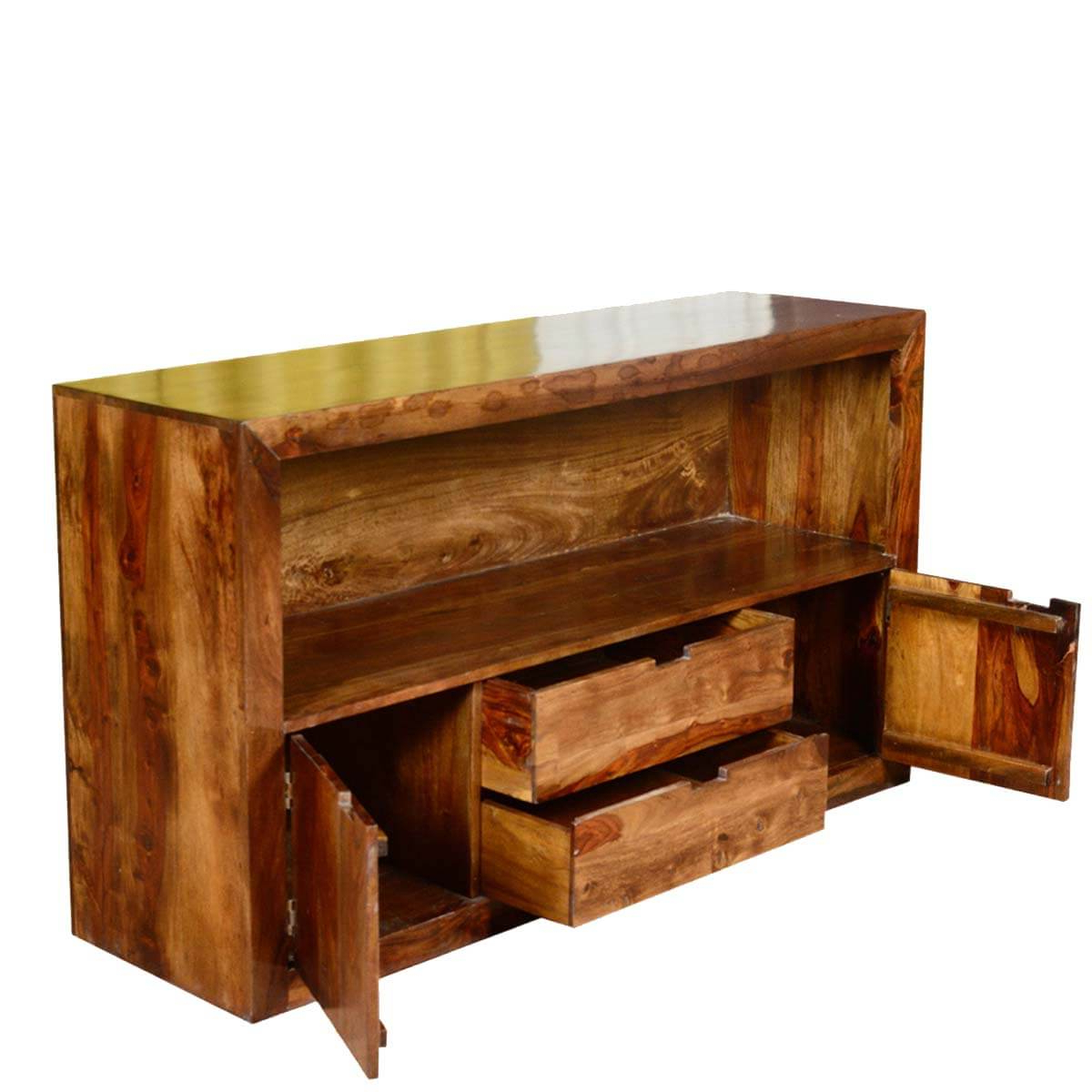 Contemporary Cabin Solid Wood 2 Drawer Media Tv Stand Console With Regard To Manhattan 2 Drawer Media Tv Stands (View 12 of 20)