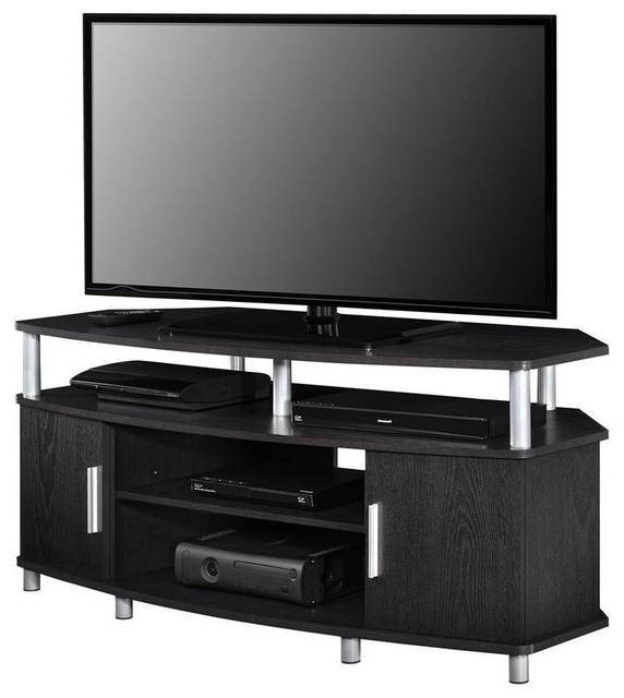 Contemporary Corner Tv Stand In Mdf With A Wide Open Shelf Within Tv Stands With Cable Management (View 7 of 20)