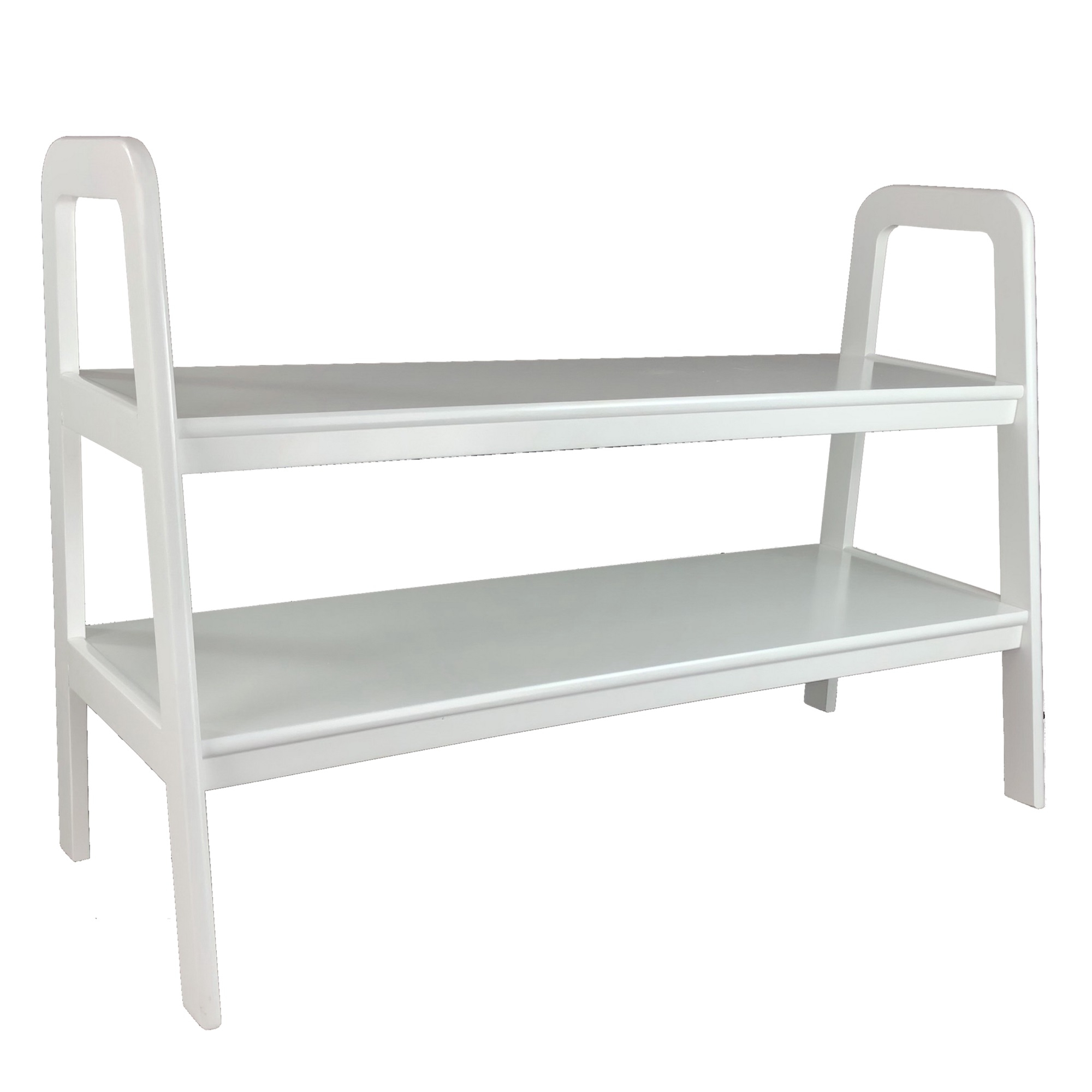 Contemporary Ladder Style Tv Stand With 2 Open Cut Shelves In Tiva White Ladder Tv Stands (View 18 of 20)