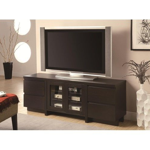Contemporary Tv Console With 4 Drawers & 2 Glass Doors Regarding Dark Brown Tv Cabinets With 2 Sliding Doors And Drawer (View 1 of 20)