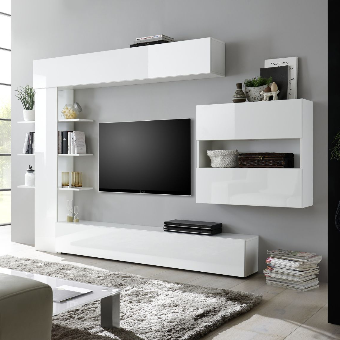 Contemporary Tv Wall Unit – Sorano – Lc Spa – Oak With High Glass Modern Entertainment Tv Stands For Living Room Bedroom (View 3 of 20)