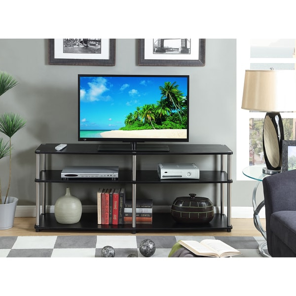 Convenience Concepts Designs 2go Black Stainless Steel 3 Inside Tier Entertainment Tv Stands In Black (View 3 of 20)
