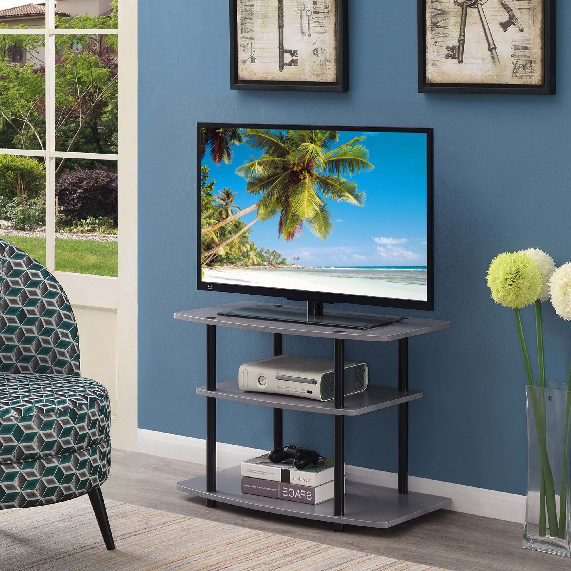 Convenience Concepts Designs2go 3 Tier Tv Stand, Gray In Tier Entertainment Tv Stands In Black (View 1 of 20)