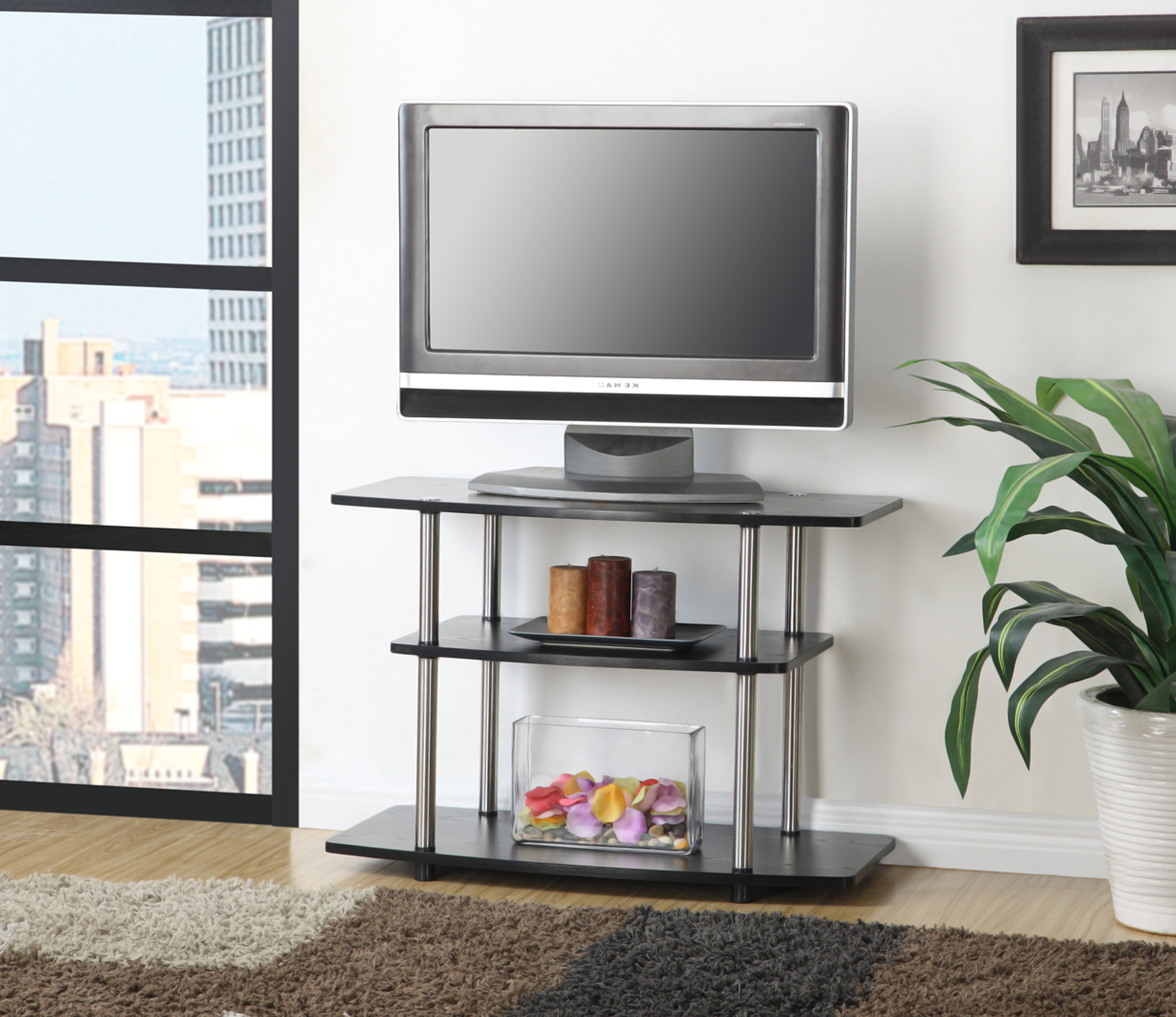 Convenience Concepts Designs2go No Tools 3 Tier Tv Stand Inside Mainstays Tv Stands For Tvs With Multiple Colors (View 10 of 20)