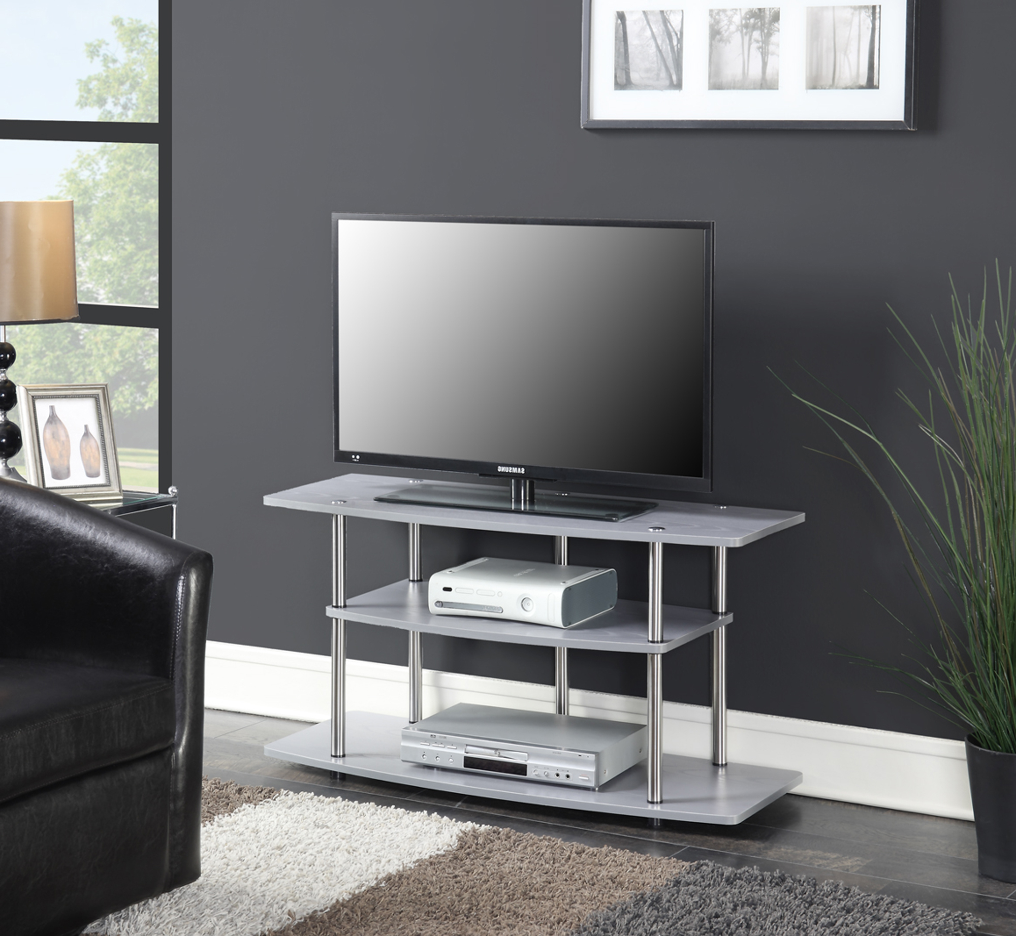 Convenience Concepts Designs2go No Tools 3 Tier Wide Tv For Harbor Wide Tv Stands (View 7 of 20)