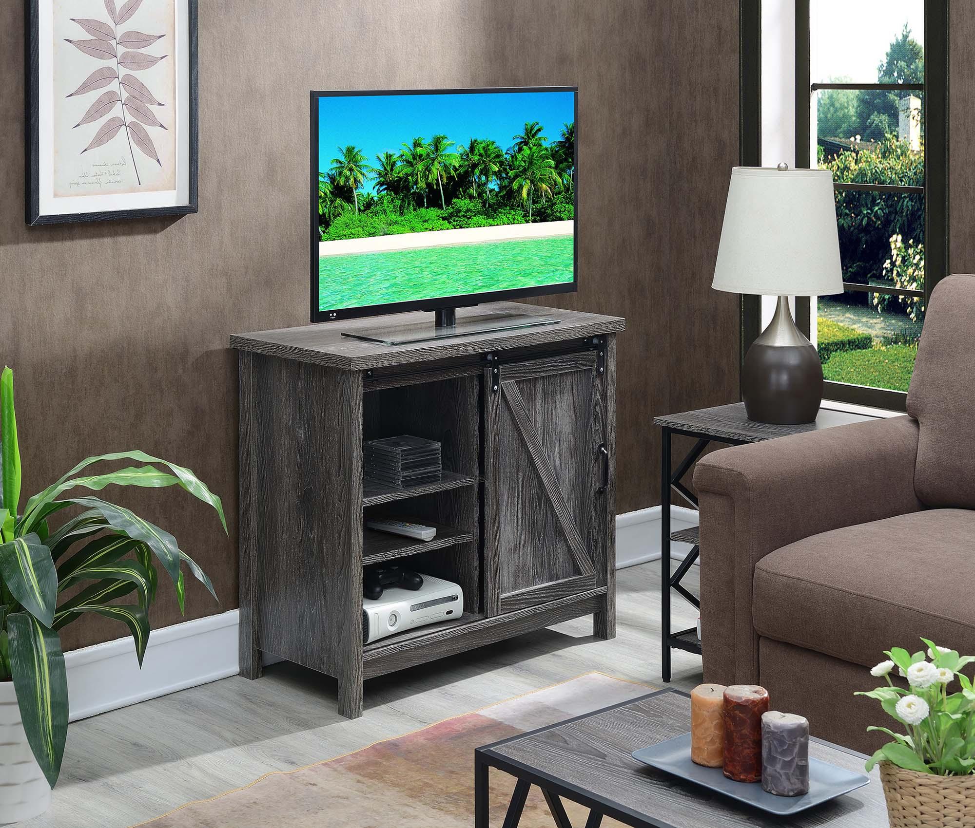 Convenience Concepts Jensen Highboy Barn Door Tv Stand Regarding Barn Door Wood Tv Stands (View 13 of 20)