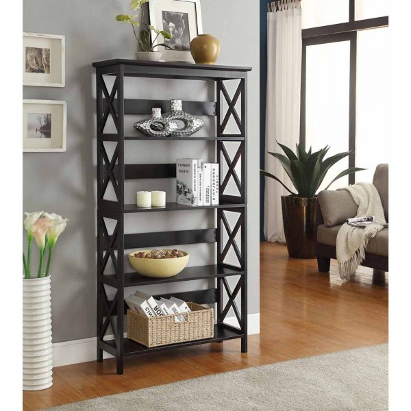 Convenience Concepts Oxford 5 Tier Bookcase, Black  Retail With Regard To Whalen Xavier 3 In 1 Tv Stands With 3 Display Options For Flat Screens, Black With Silver Accents (View 1 of 20)