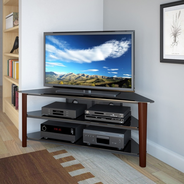 """Corliving Alturas Stained Wood Corner Tv Stand For Up To Throughout Glass Tv Stands For Tvs Up To 70"""" (View 13 of 20)"""