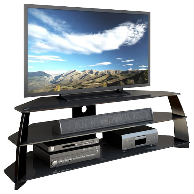 Corliving Taylor Extra Wide Glossy Black Tv Stand With Pertaining To Copen Wide Tv Stands (View 16 of 20)