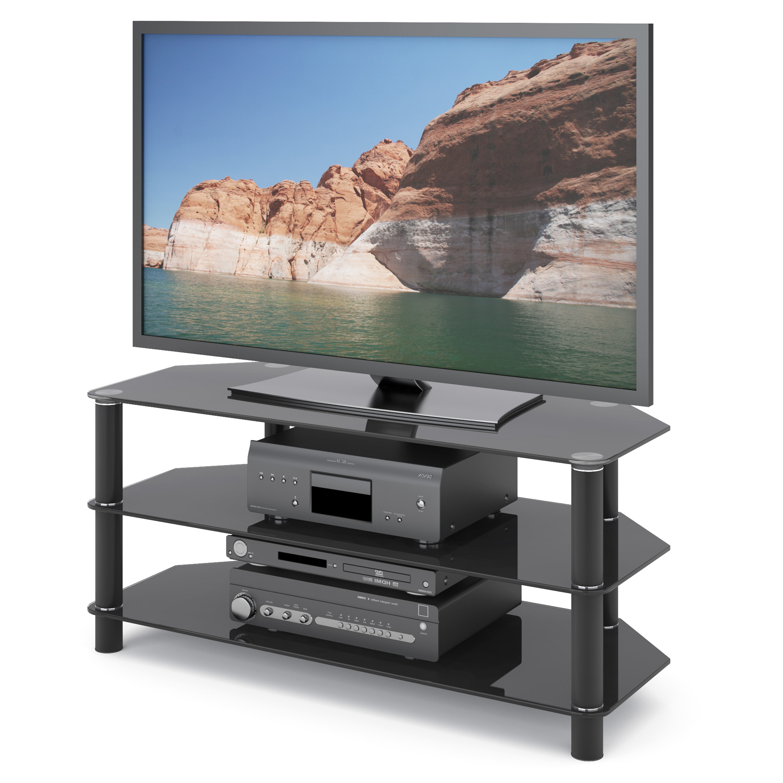 """Corliving Trinidad Black Glass Corner Tv Stand For Tvs Up With Glass Tv Stands For Tvs Up To 70"""" (View 7 of 20)"""