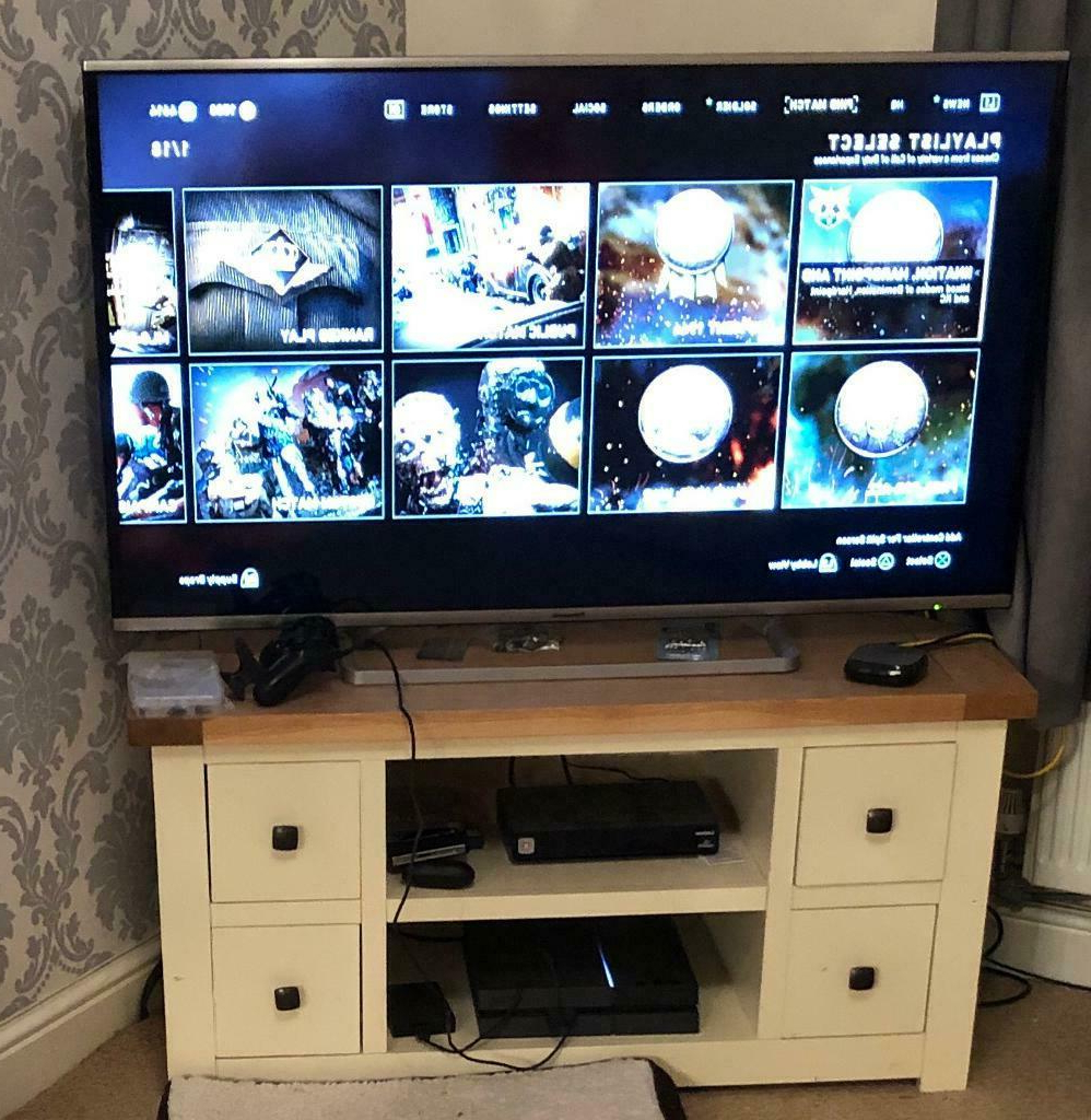 Corner Cream And Oak Tv Stand From Oak Furniture Land | In Pertaining To Sidmouth Oak Corner Tv Stands (View 11 of 20)