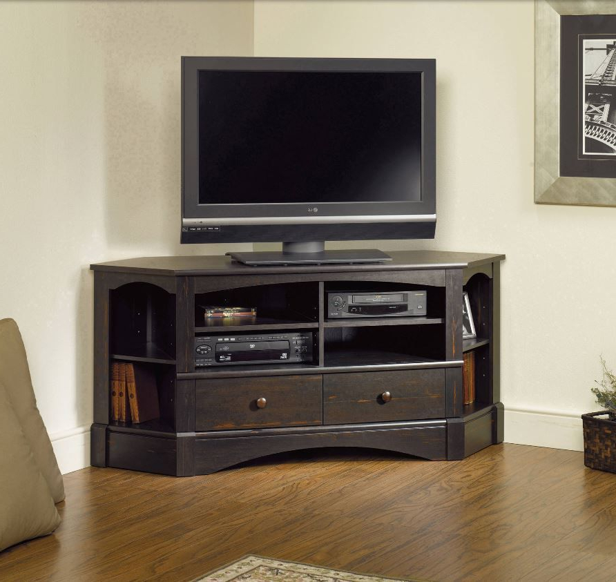 Corner Entertainment Credenza Tv Stands For Flat Screens Inside Corner Entertainment Tv Stands (View 6 of 20)