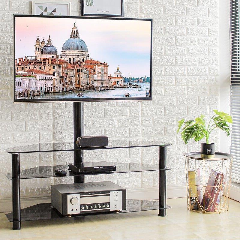 Corner Floor Tv Stand With Swivel Mount Shelf For 32 – 65 Inside Modern Floor Tv Stands With Swivel Metal Mount (View 10 of 20)
