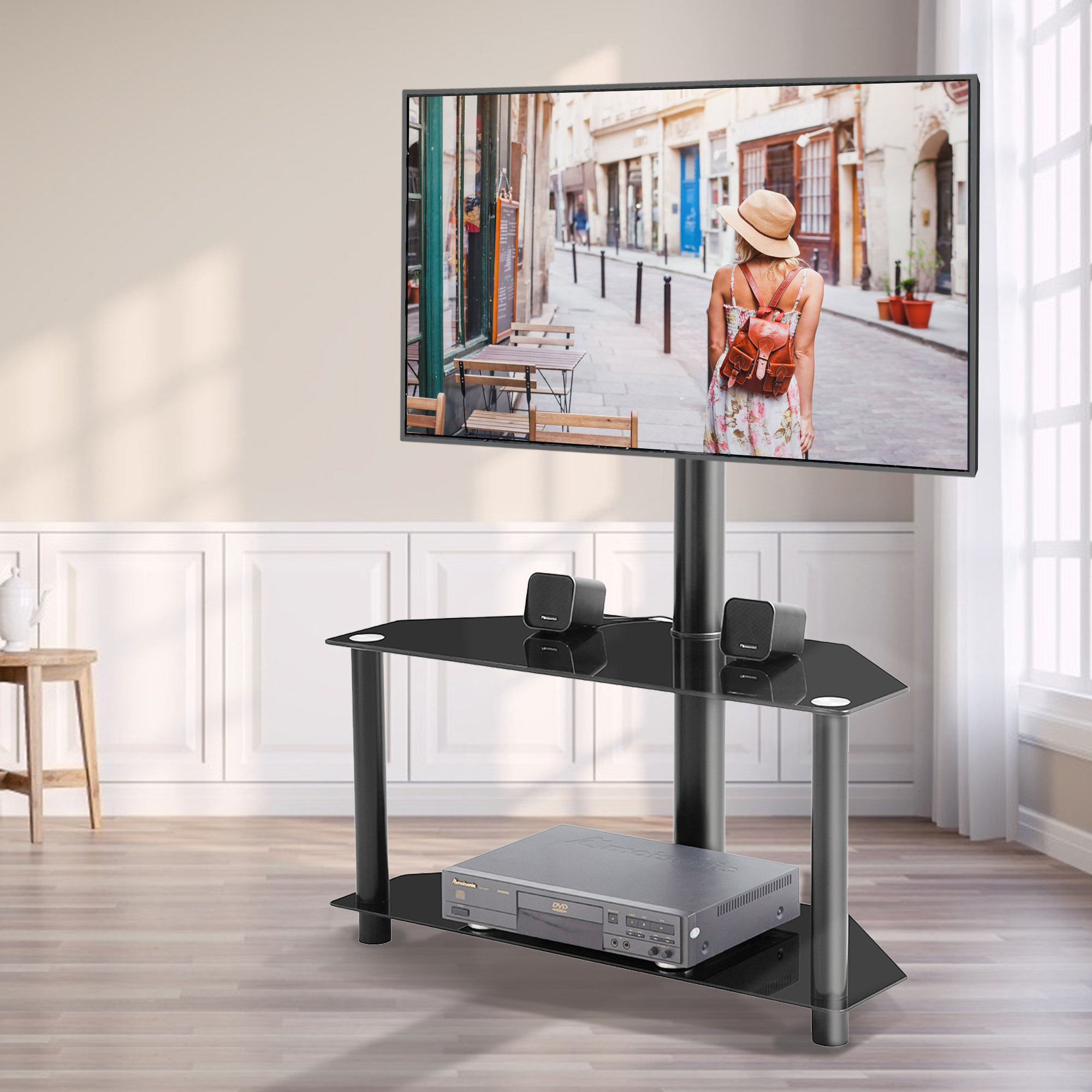 Corner Tv Stand, 2 Tier Glass Tv Stand For 32 55 Inch Lcd Within Space Saving Gaming Storage Tv Stands (View 1 of 20)