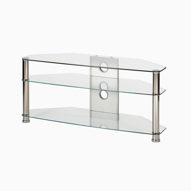 Corner Tv Stand In Clear Glass Up To 42 Inch Tv   Mmt Cl1000 Inside Conrad Metal/glass Corner Tv Stands (View 16 of 20)