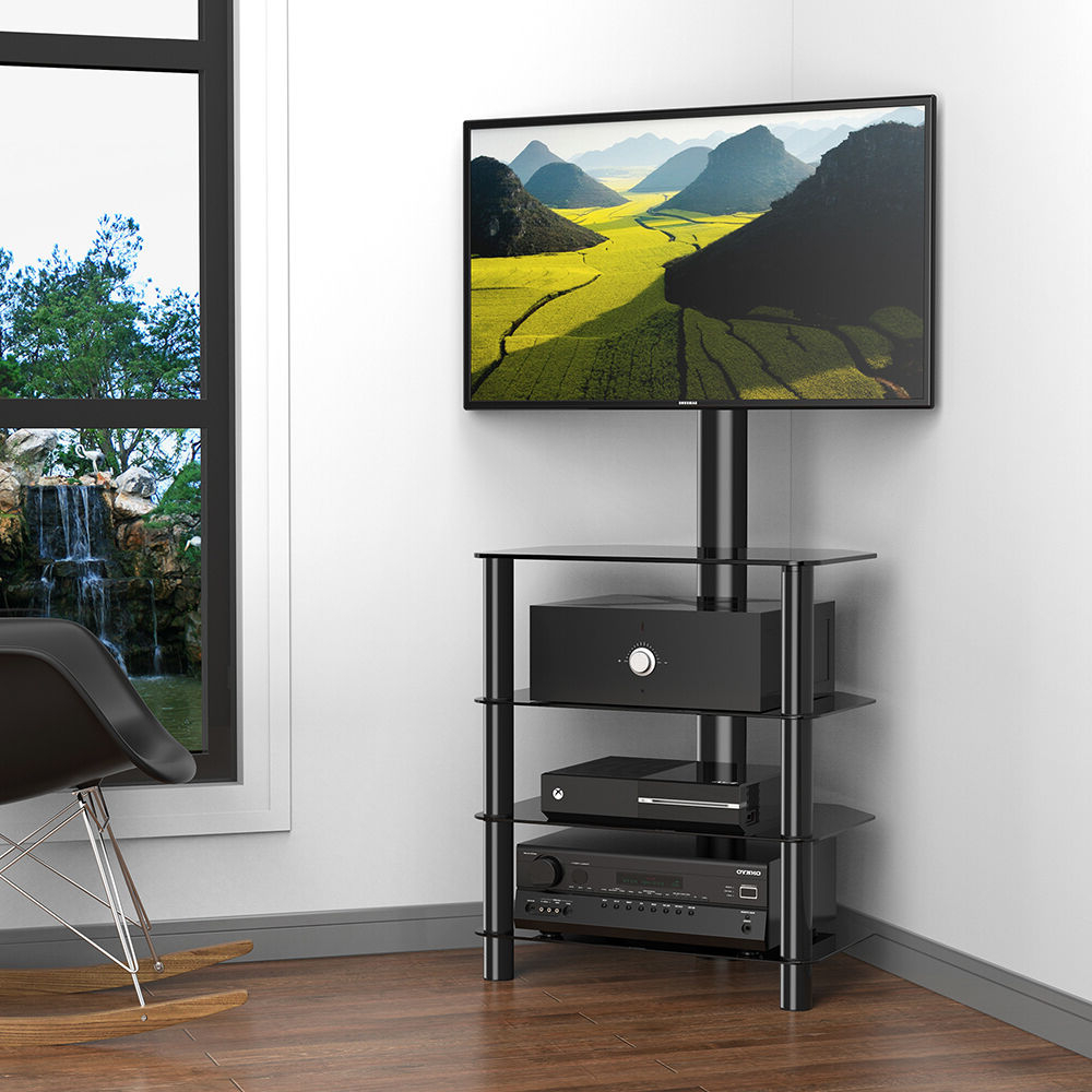 Corner Tv Stand Media Storage Console With Swivel Mount In Throughout Modern Floor Tv Stands With Swivel Metal Mount (View 5 of 20)