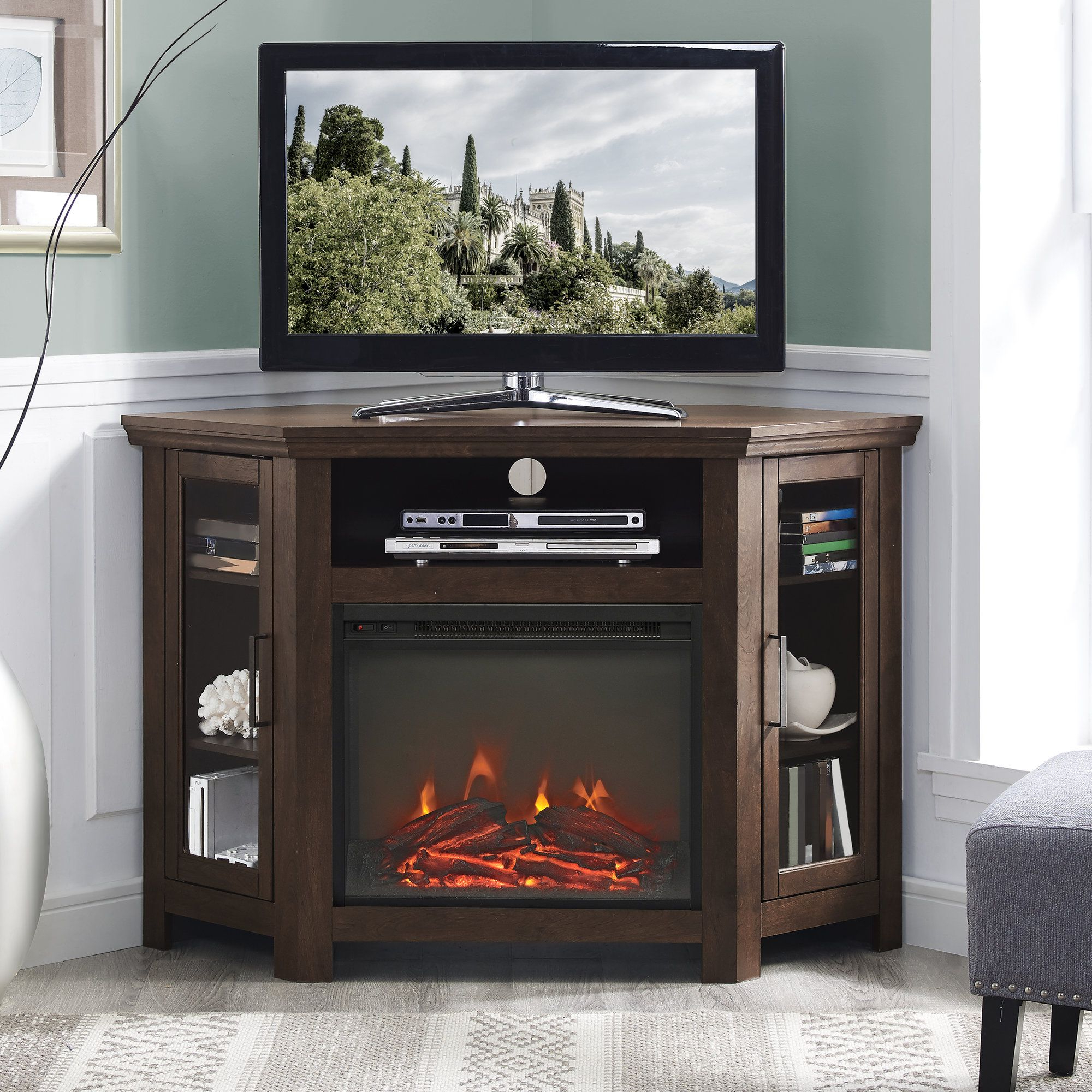 Corner Tv Stand With Electric Fireplace   Fireplace Tv In Corner Entertainment Tv Stands (View 5 of 20)