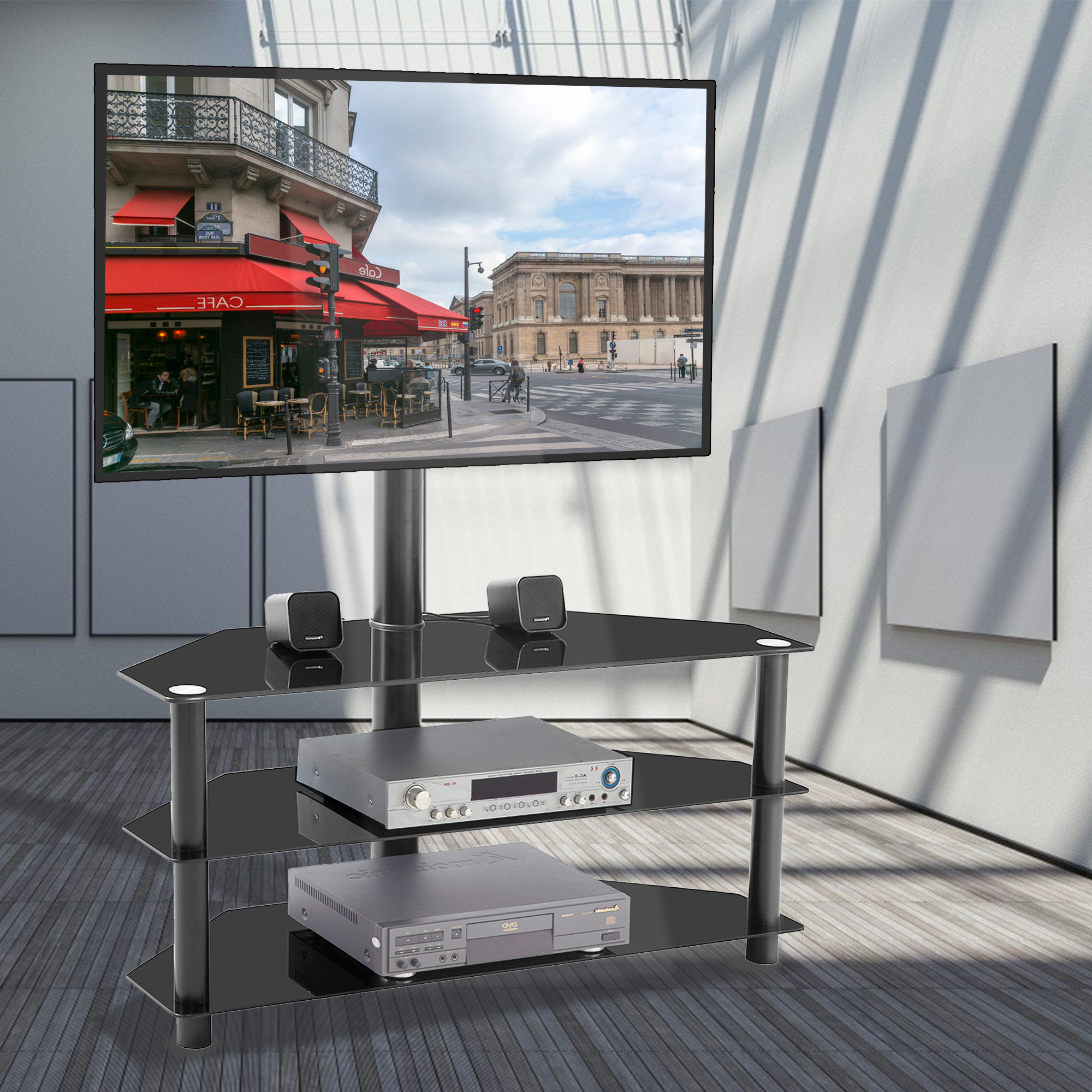 """Corner Tv Stand With Mount, Universal Floor Tv Stand Fit Intended For Paulina Tv Stands For Tvs Up To 32"""" (View 1 of 20)"""