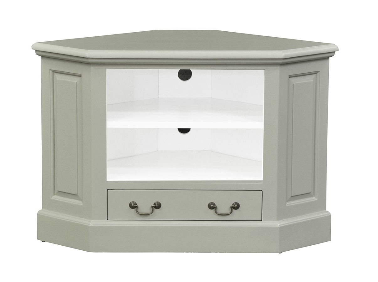Corner Tv Unit – Single Drawer – French Ivory – Island Throughout Compton Ivory Corner Tv Stands With Baskets (View 12 of 20)