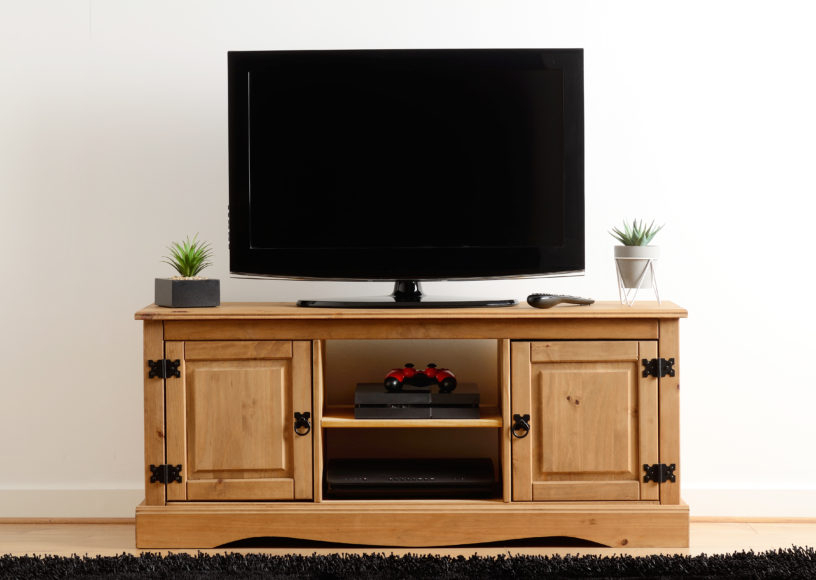 Corona 2 Door 1 Shelf Flat Screen Tv Unit – Distressed With Regard To Corona Grey Flat Screen Tv Unit Stands (View 14 of 20)