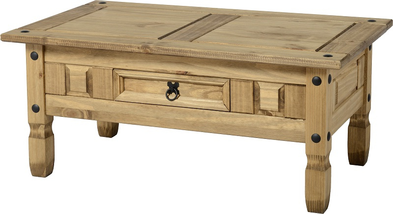 Corona Coffee Table – Distressed Waxed Pine   Www Intended For Corona Corner Tv Stands (View 13 of 20)