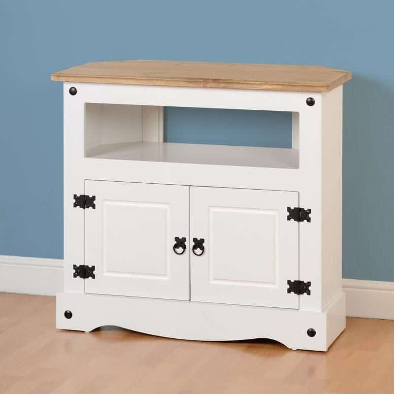 Corona Corner Tv Cabinet – White/distressed Waxed Pine Intended For Corona Corner Tv Stands (View 11 of 20)