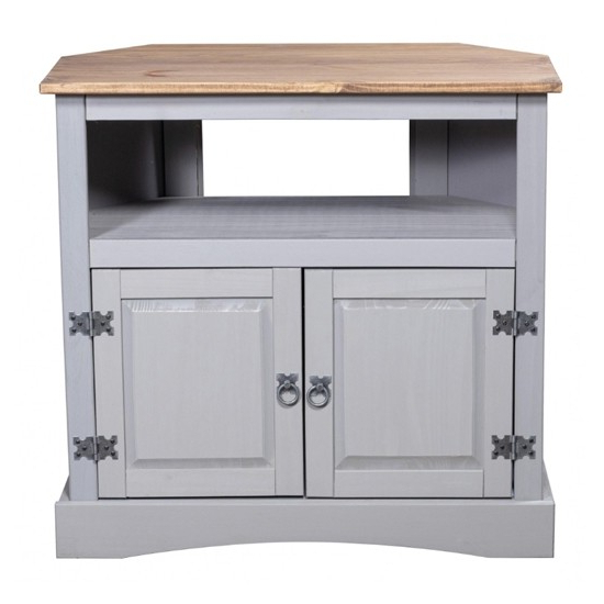 Corona Corner Wooden Tv Stand In Grey With 2 Doors Within Corona Grey Flat Screen Tv Unit Stands (View 10 of 20)