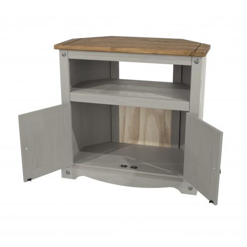 Corona Painted Grey Solid Pine Corner Tv Stand Pertaining To Corona Corner Tv Stands (View 6 of 20)
