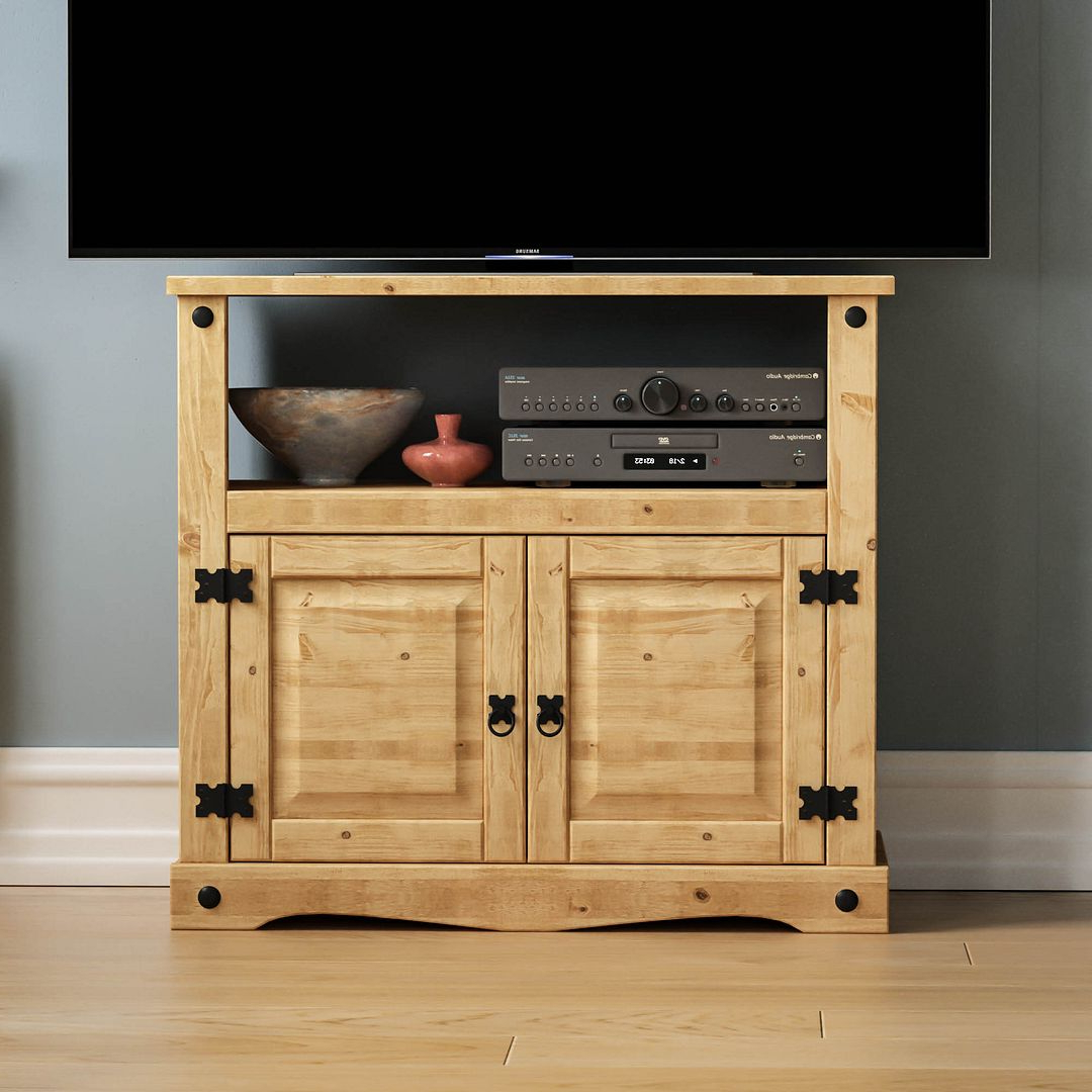 Corona Panama Tv Cabinet Media Dvd Unit Solid Pine Wood Throughout Panama Tv Stands (View 4 of 20)