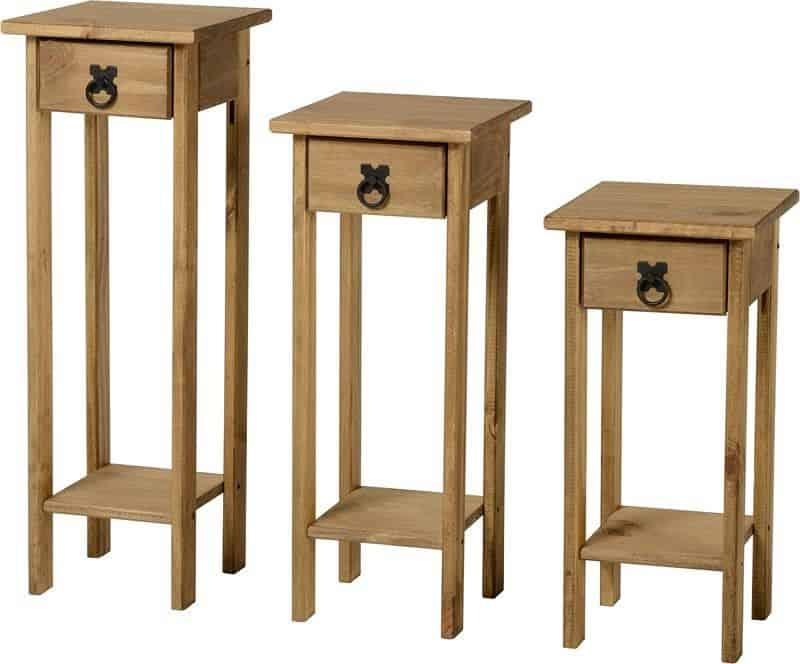Corona Plant Stands (set Of 3) – Distressed Waxed Pine Throughout Corona Small Tv Stands (View 9 of 20)