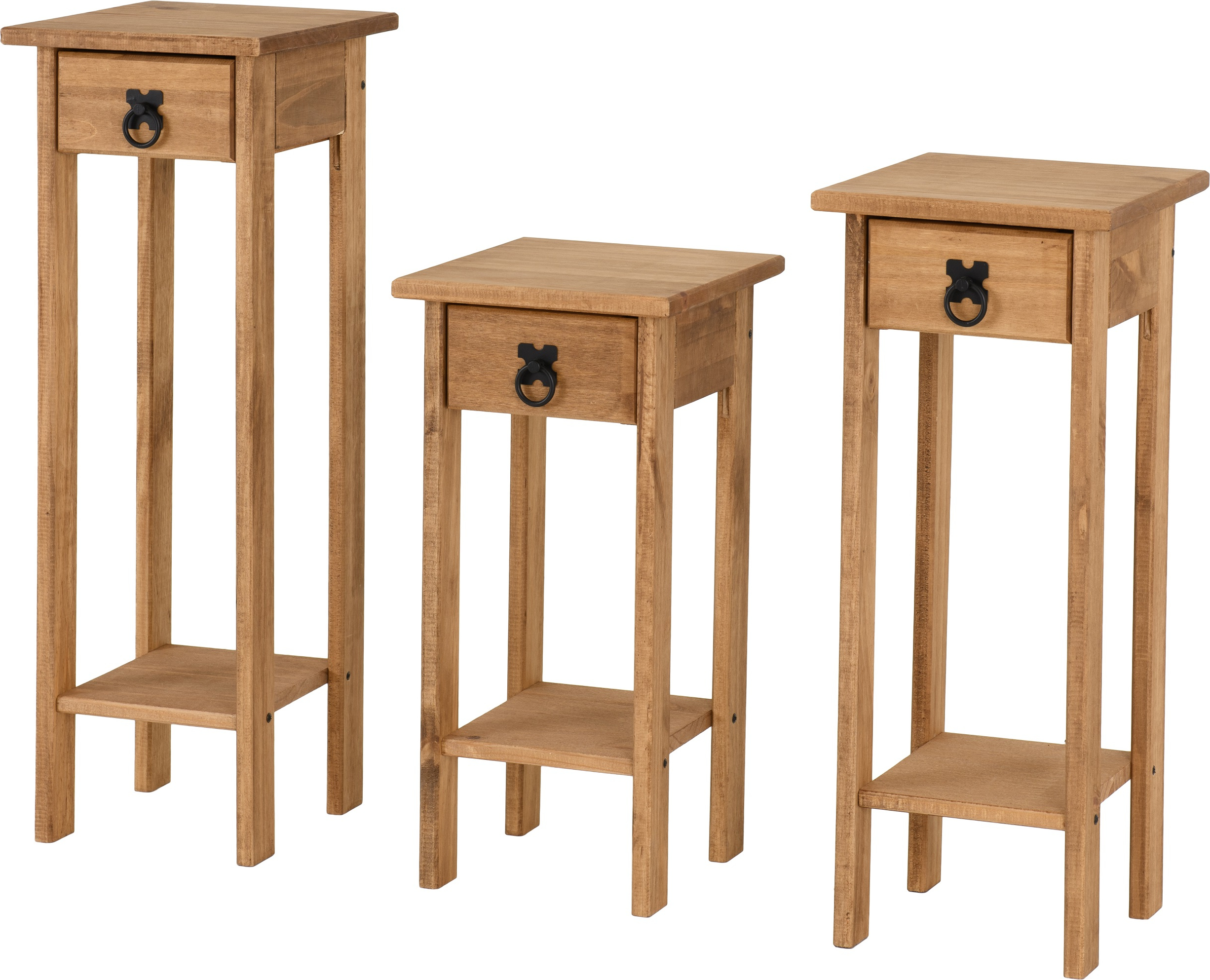 Corona Plant Stands (set Of 3) In Distressed Waxed Pine With Corona Small Tv Stands (View 11 of 20)