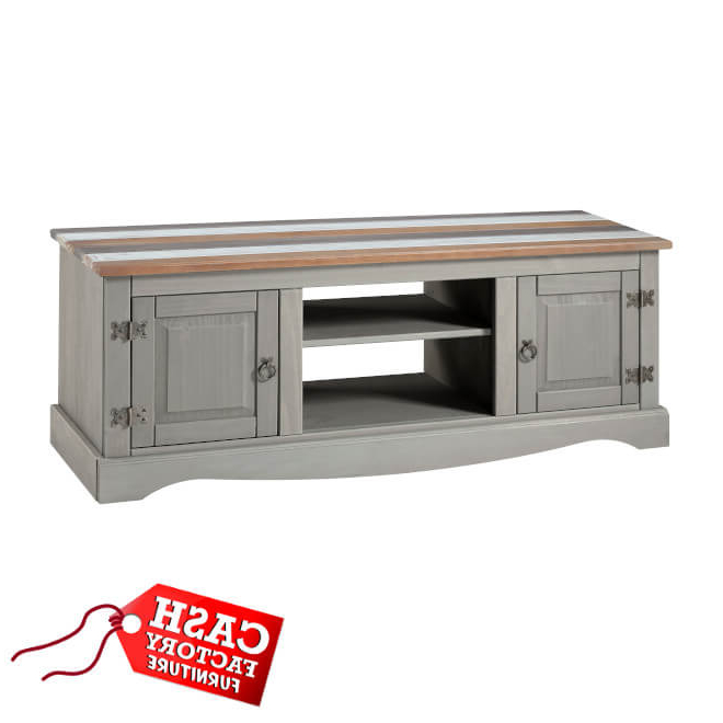 Corona Vintage Large Tv Unit – Cash Factory Furniture In Corona Grey Corner Tv Stands (View 4 of 20)