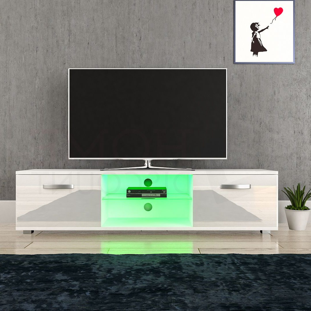 Cosmo Led Tv Cabinet Stand Unit 2 Door Gloss Matte Mdf For 57'' Led Tv Stands With Rgb Led Light And Glass Shelves (View 4 of 20)