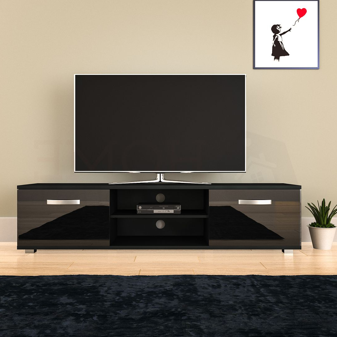 Cosmo Led Tv Cabinet Stand Unit 2 Door Gloss Matte Mdf Inside 57'' Led Tv Stands With Rgb Led Light And Glass Shelves (View 7 of 20)