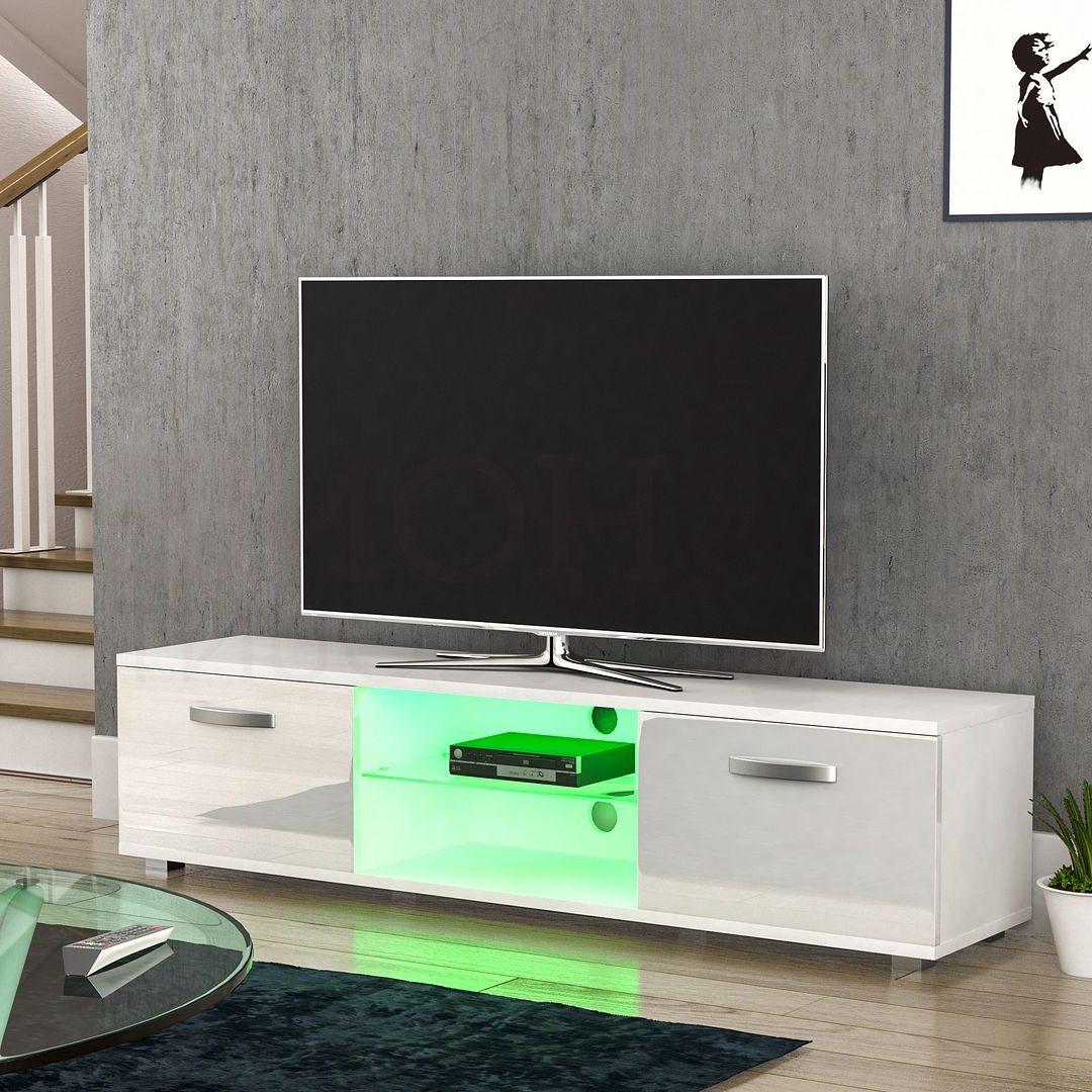 Cosmo Led Tv Cabinet Stand Unit 2 Door Gloss Matte Mdf With 57'' Led Tv Stands With Rgb Led Light And Glass Shelves (View 5 of 20)