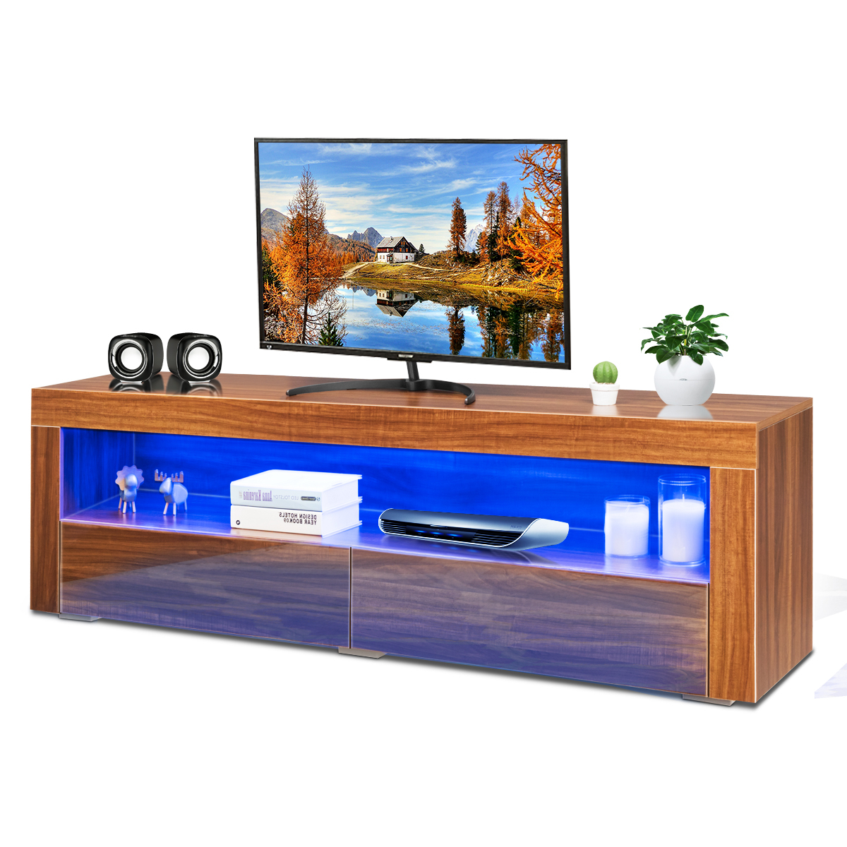 Costway High Gloss Tv Stand Media Entertainment W/led Pertaining To Tv Stands Cabinet Media Console Shelves 2 Drawers With Led Light (View 6 of 20)