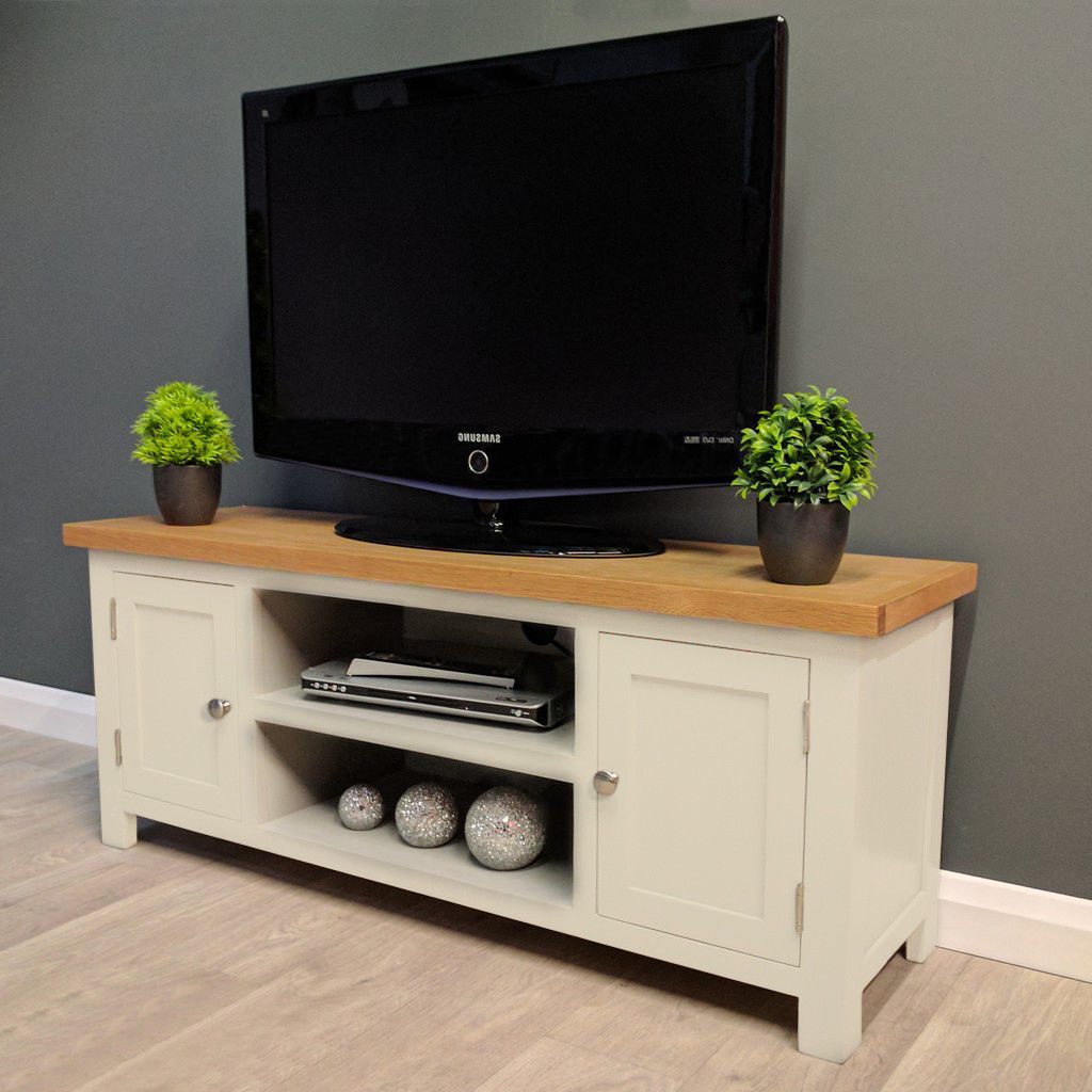 Cotswold Cream Painted Large Oak Tv Unit / Plasma / Solid For Cotswold Widescreen Tv Unit Stands (View 8 of 20)